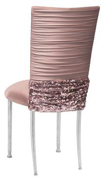 Chloe Blush Knit Chair Cover with Bedazzled Band on Silver Legs