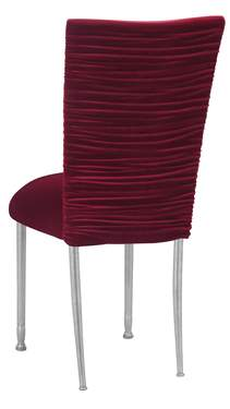 Chloe Cranberry Velvet Chair Cover and Cushion on Silver Legs