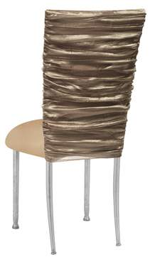 Beige Demure Chair Cover with Beige Knit Cushion on Silver Legs