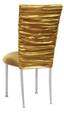 Gold Demure Chair Cover with Gold Knit Cushion on Silver Legs