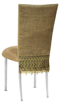 Brilliant Burlap Fancy Chair Cover With Camel Suede Cushion On Silver Pabps2019 Chair Design Images Pabps2019Com