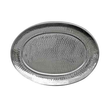 Oval Hammered Aluminum Tray 16""
