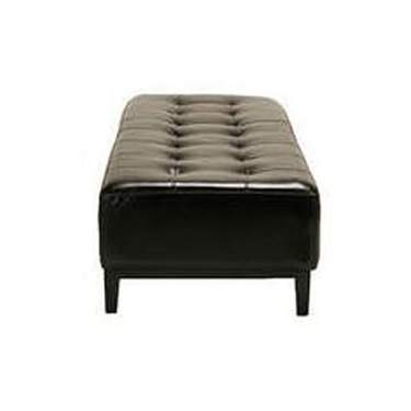 Woodrow Black Leather Ottoman