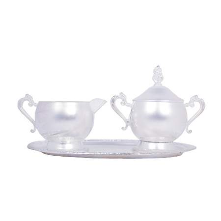 Silver Tray w/ Sugar Bowl and Creamer