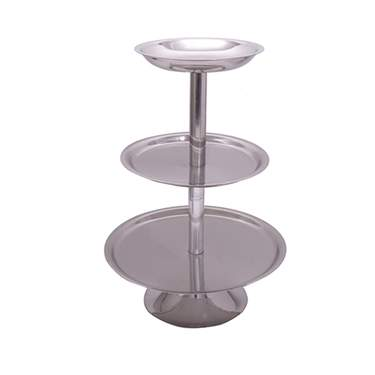 "Stainless Steel 3-Tier Round Tray 14""H"