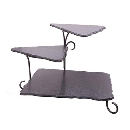 "3-Tier Marble Black Iron Stand 17""H"