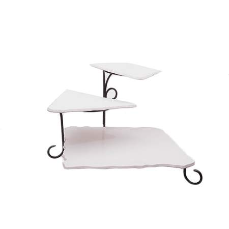 """3-Tier Marble White Iron Stand 17""""H"""