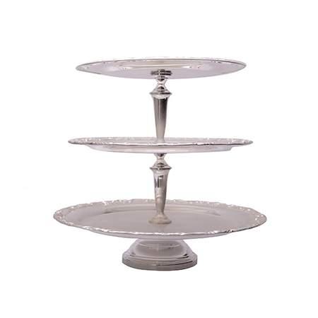 "3-Tier Silver Round Tray 17""H"