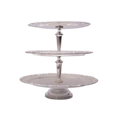 "3-Tier Silver Round Tray 17""H"