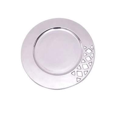 "Round Aluminum Filigree Tray 15"""