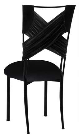 Black Velvet Criss Cross Chair Cover And Cushion On Black Legs