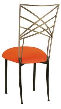 Two Tone Fanfare with Navel Orange Velvet Cushion