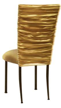 Gold Demure Chair Cover with Gold Knit Cushion on Brown Legs