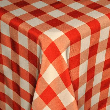 Poly Square Check Red & White 72""