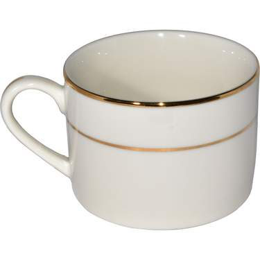 Ivory Double Gold Banded Porcelain Coffee Cup 6oz