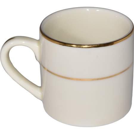 Ivory Double Gold Banded Porcelain Demitasse Cup 3oz