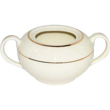 Ivory Double Gold Banded Porcelain Sugar Bowl 8oz