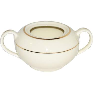 Ivory Double Gold Banded Porcelain Sugar Bowl 8oz