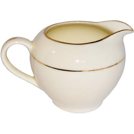 Ivory Double Gold Banded Porcelain Creamer 8oz