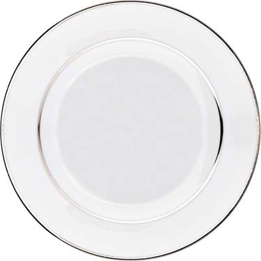 White Double Silver Banded Porcelain Plate 7.5""