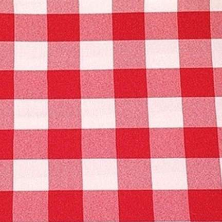Poly Red & White Check Square 90""