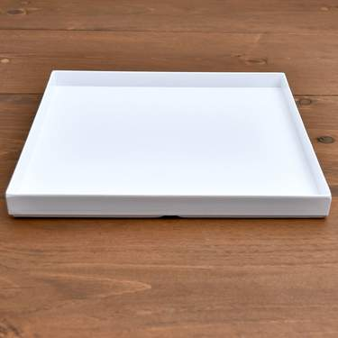 Square White Lacquer Tray 14""