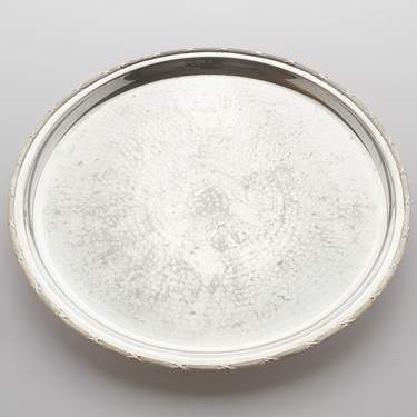 Hammered Silver Tray 14""