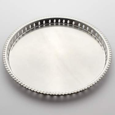 Stainless Steel Gallery Round Tray 15""