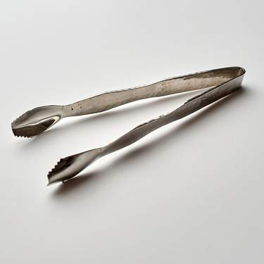 "Serving Utensil, Stainless Scissor Tong 9"" Hammered"