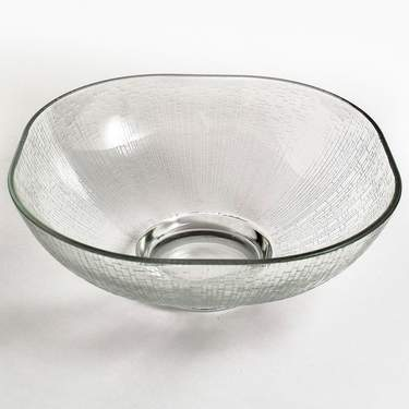 "Bowl, Glass 10"" Square Etched (64oz/2 Qt)"