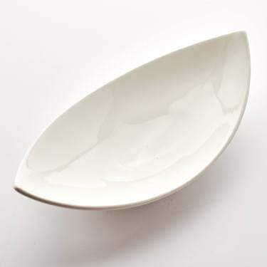 "Bowl, Porcelain White 12.5"" X 6.25"" Banana Shape"