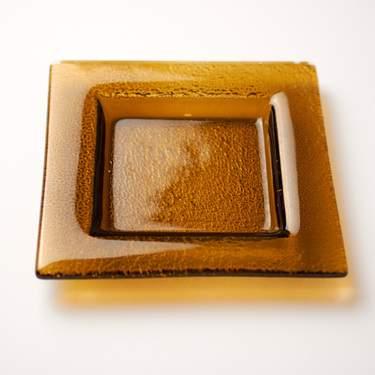 "China, Bubble Amber Dipping Dish 3.5"" Square"
