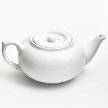 China, White Tea Pot w/ Sunken Lid 32oz