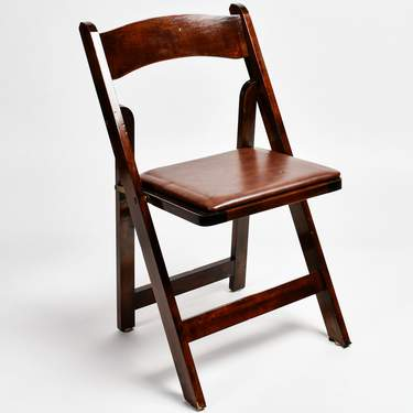 Brown Fruitwood Folding Chair w/ Pad