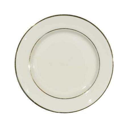 """Ivory Double Gold Banded Porcelain Luncheon Plate 9"""""""