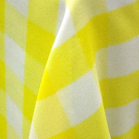 Yellow Checkered Umbrella Table Linen 90""