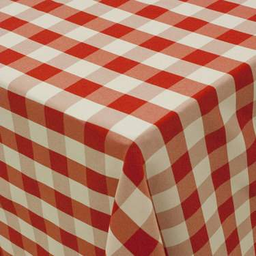 """Linen Poly Check Red & White 90"""" X 156"""""""