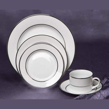White China with Silver Rim Pattern Wedding Dinnerware Rental