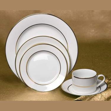 White with Gold Band Dinner Plate, 10""