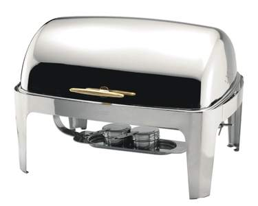 Chafer 8 qt Roll Top S/S w/Gold Handle