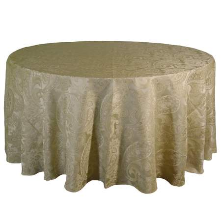 """Damask Tuft Candy Parchment 132"""" Rd"""