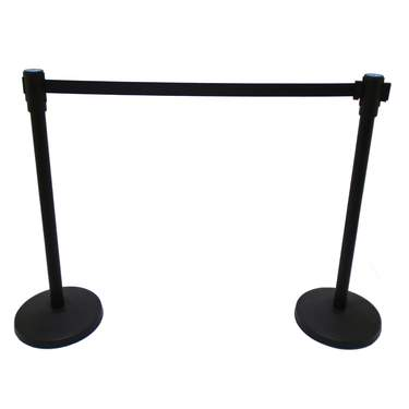Stanchion 7' Black Rretractable