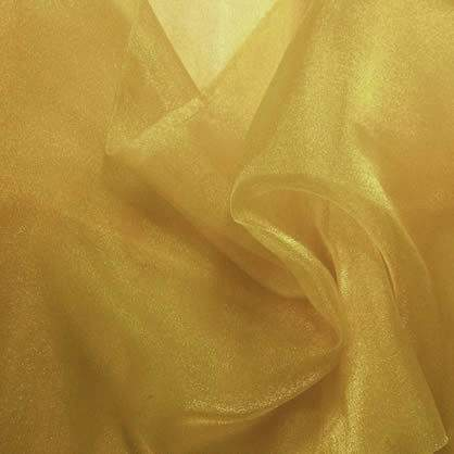 "Gold Sheer Organza 90"" Round Table Linen"