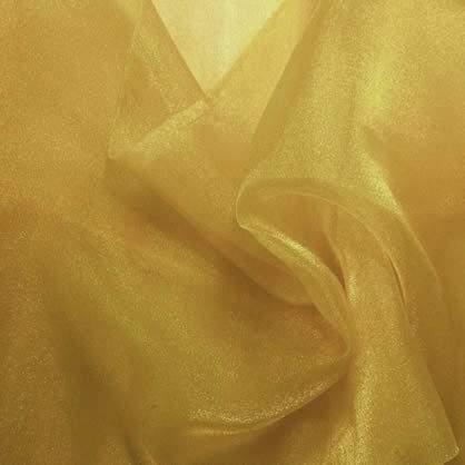 "Gold Sheer Organza 108"" Round Table Linen"