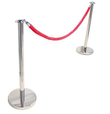 Chrome Stanchion & Rope - Chrome Stanchion