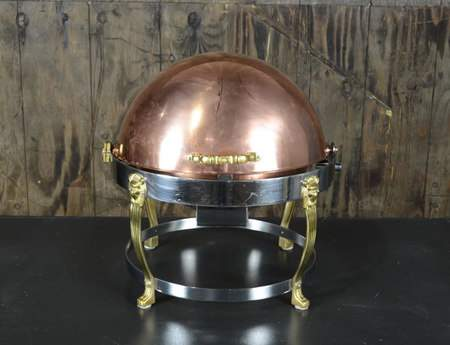 Chafer Round Copper & Brass - 6qt Roll Top