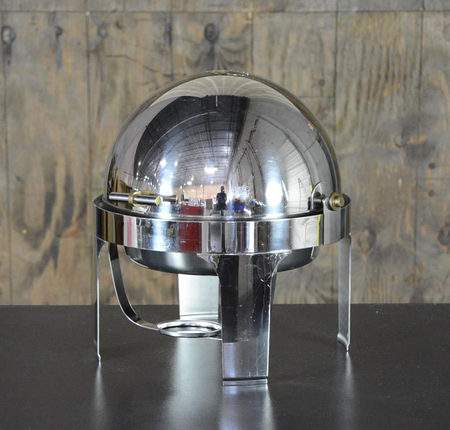 Chafer Round Stainless & Brass Roll Top 6qt