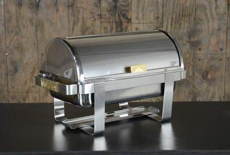 Chafer Rectangular Stainless & Brass Roll Top 8qt