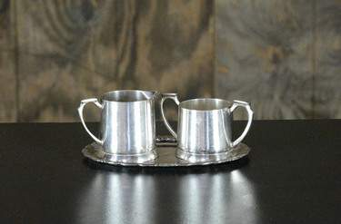 Silver Cream & Sugar Set w/ Tray