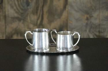 Silver Cream & Sugar Set w/ Tray